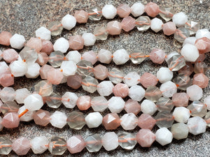 5.5mm Mixed Color Moonstone Star Cut Faceted Beads, 15 inch