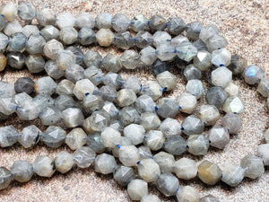 5mm Labradorite Star Cut Faceted Beads, 15 inch