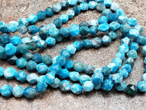 5.5mm or 7.5mm Apatite Star Cut Faceted Beads, 15 inch