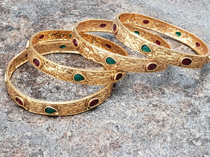 Set of 4 Bangles, Gold Bangles with Faux Ruby and Emerald Teardrop Stones, Size 2.6