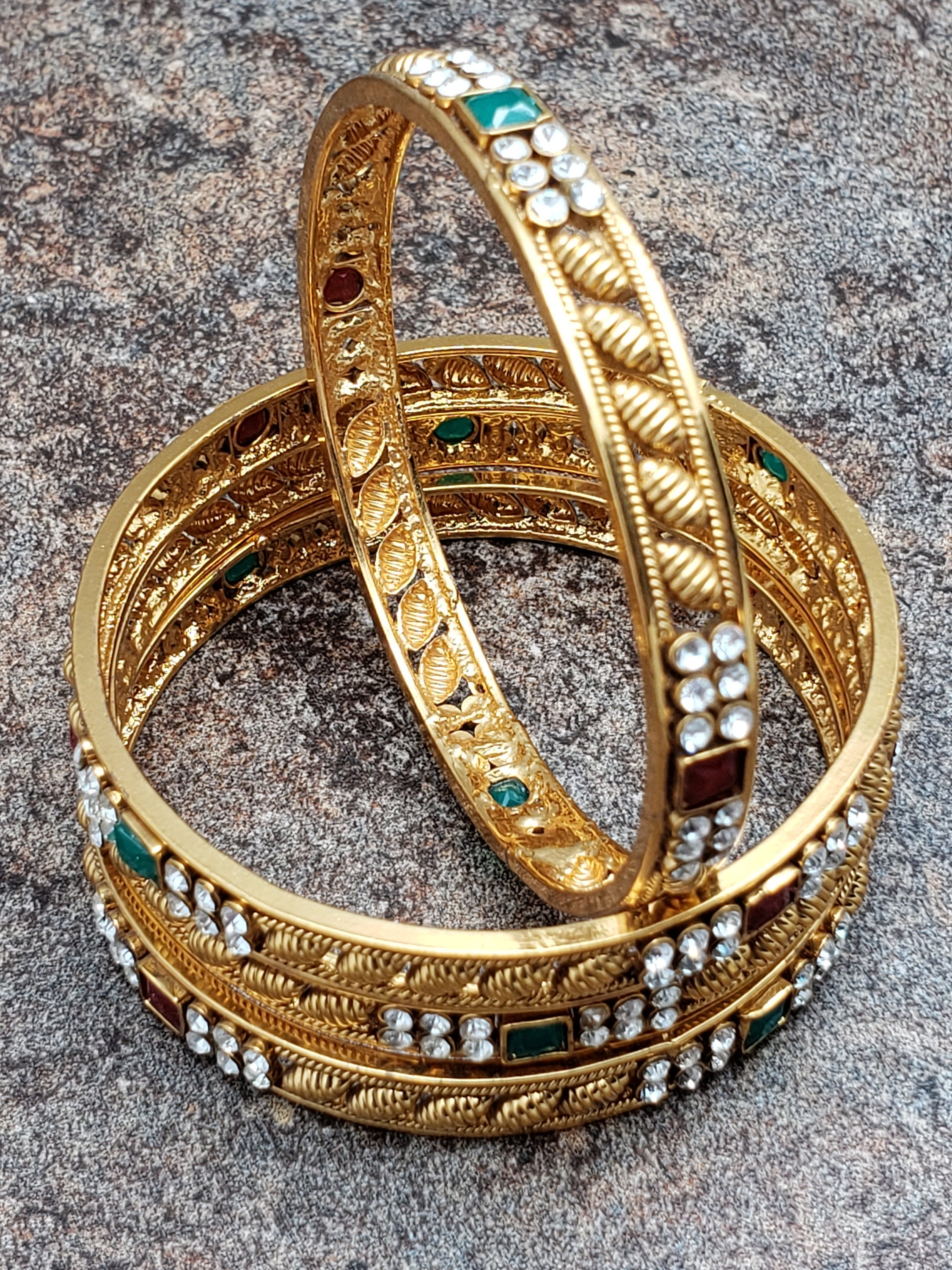 Set of 4 Bangles, Gold Bangles with Crystal and Faux Ruby and Emerald Stones, Size 2.4