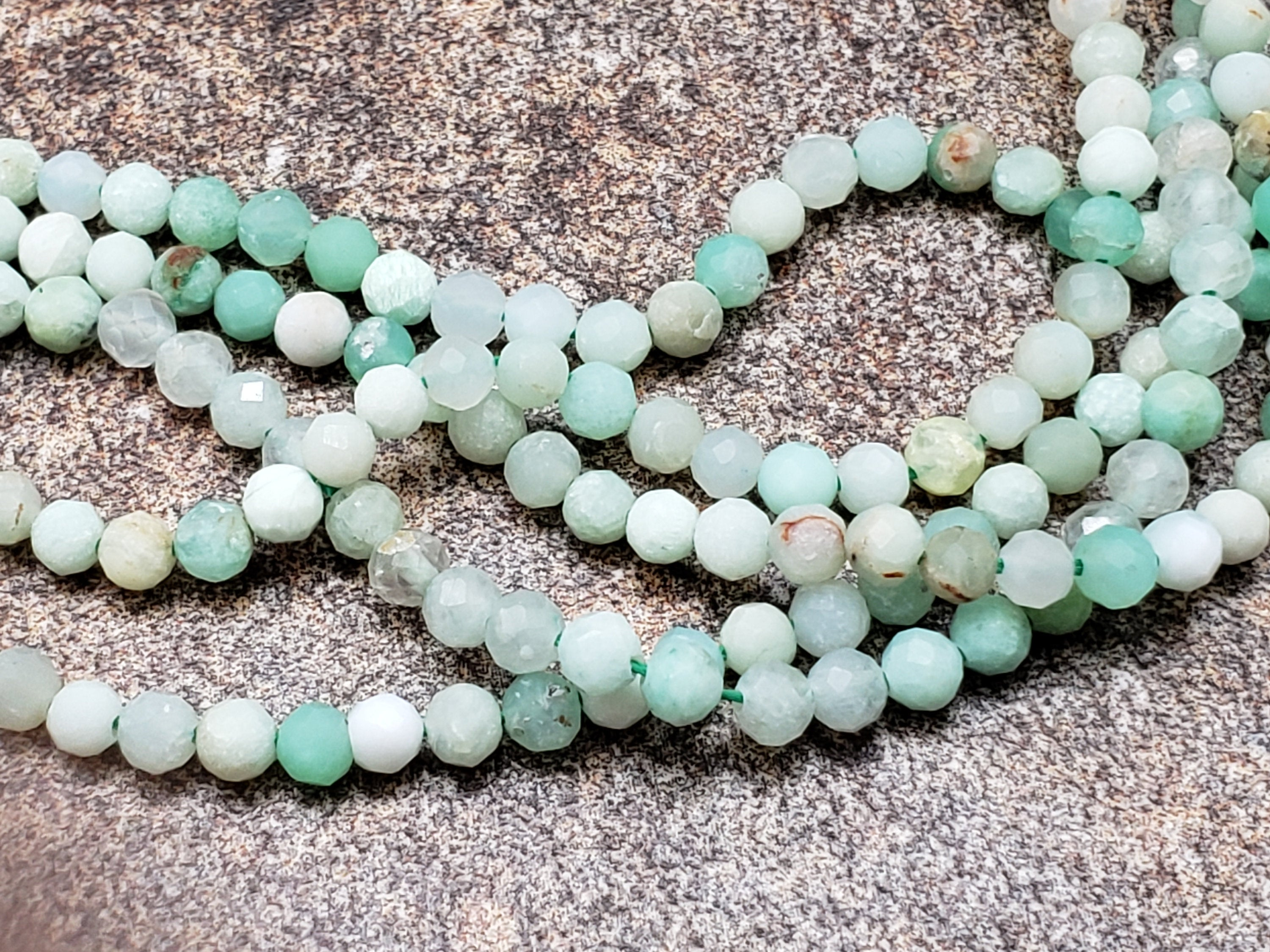 2mm or 3mm Green Opal Shaded Faceted Round Beads, 16 inch Lot C3