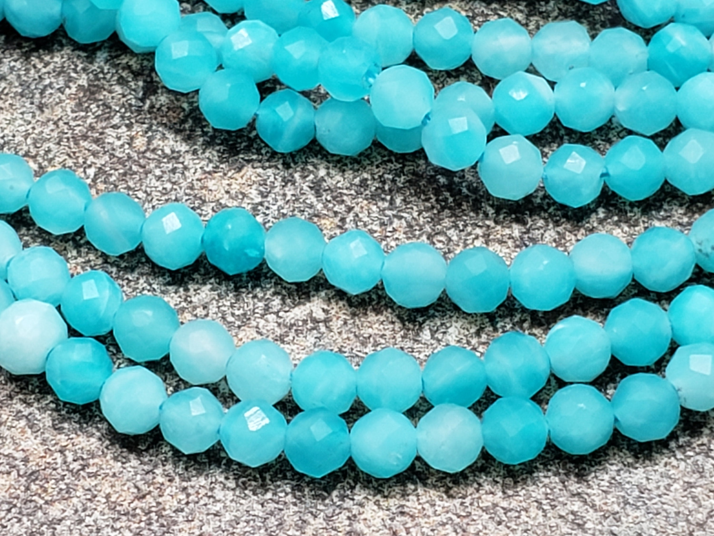 3.3mm Blue Amazonite Faceted Round Beads, A Grade, 15 inch