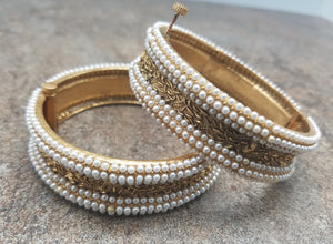 Pair of Bangles, Gold Finished Kada with Pearl, Size 2/4 or Size 2/6