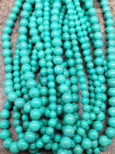 6mm or 8mm Deep Green Turquoise Polished Round Beads, 15.75 inch