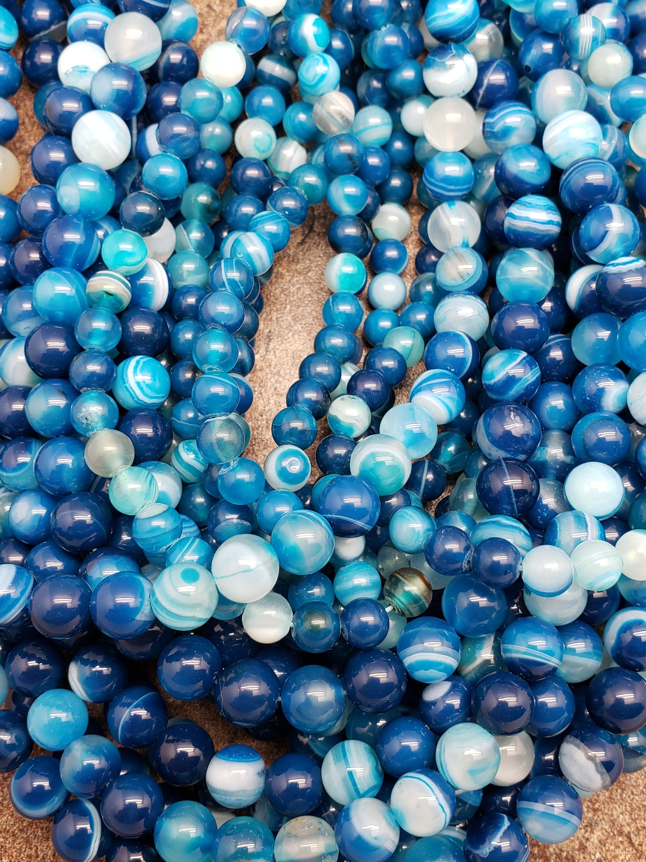 6mm or 8mm Blue Striped / Banded Agate Glossy Polished Round Beads, 15 inch