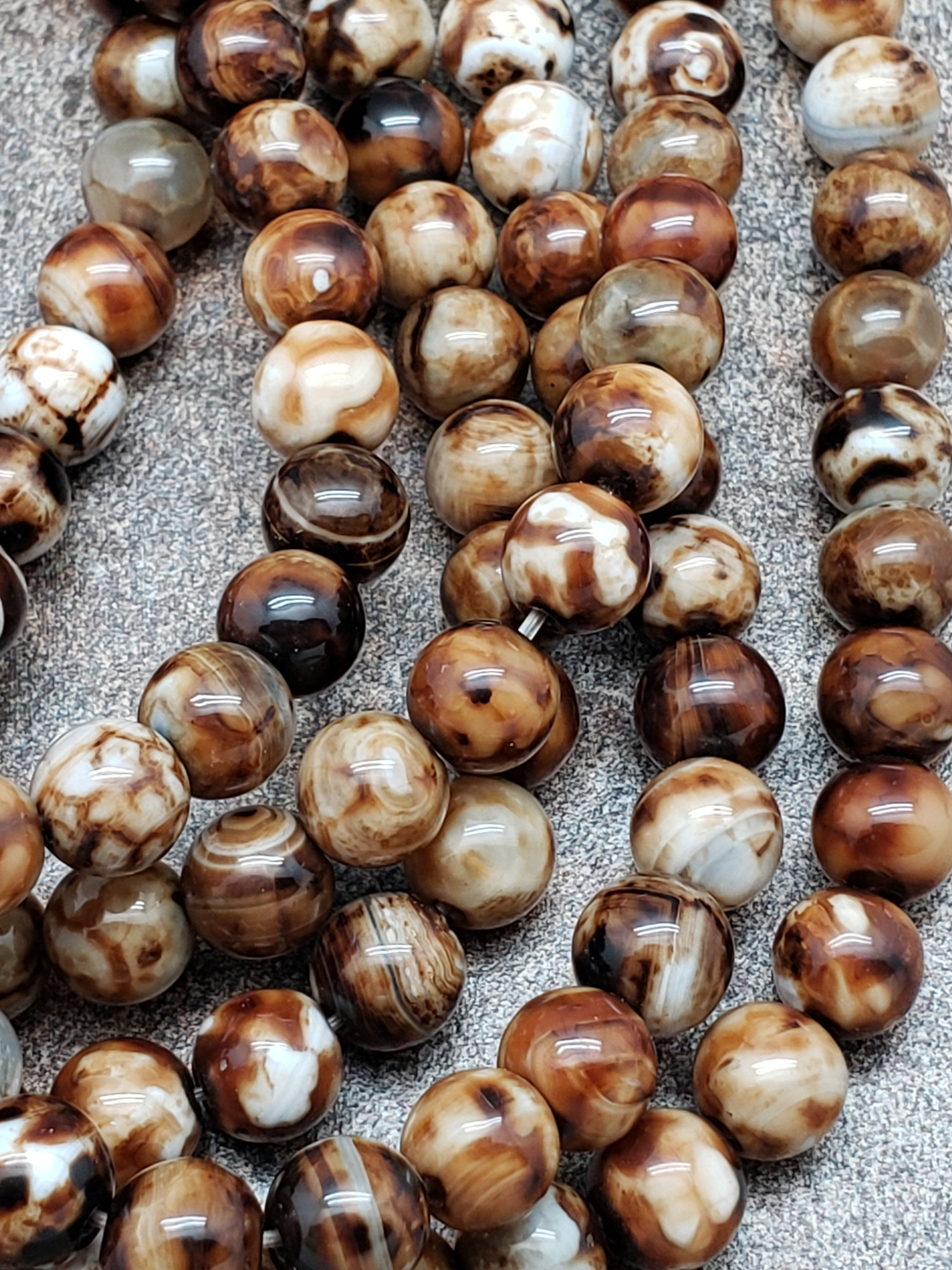 8mm Leopard Brown Agate Polished Round Beads, 15 inch