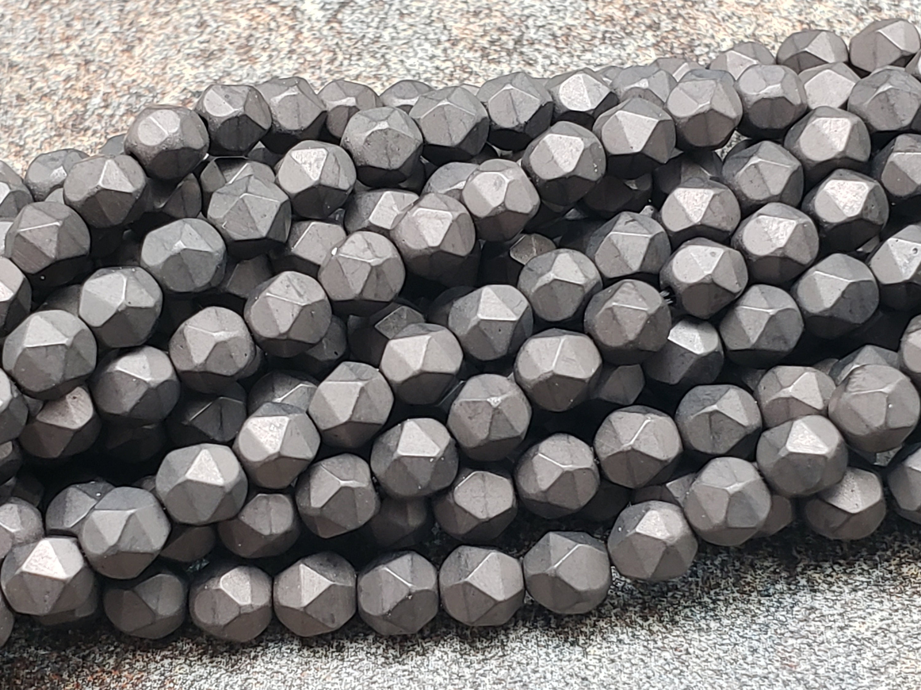 4mm by 4mm Bronze Diamond Cut Faceted MATTE Beads, 15.5 inch
