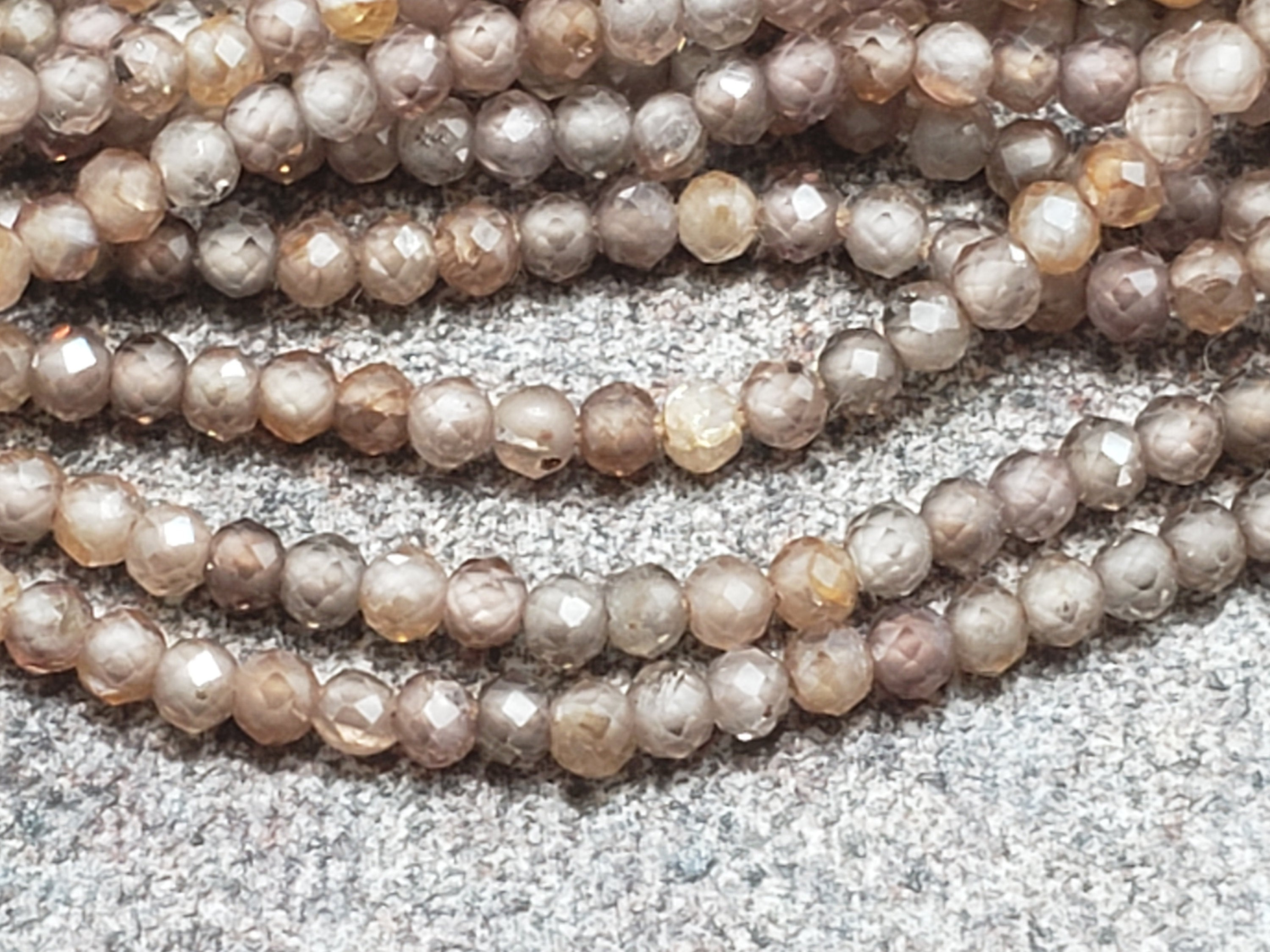 2mm Natural Brown Zircon Faceted Round Beads, AB Grade, 12 inch