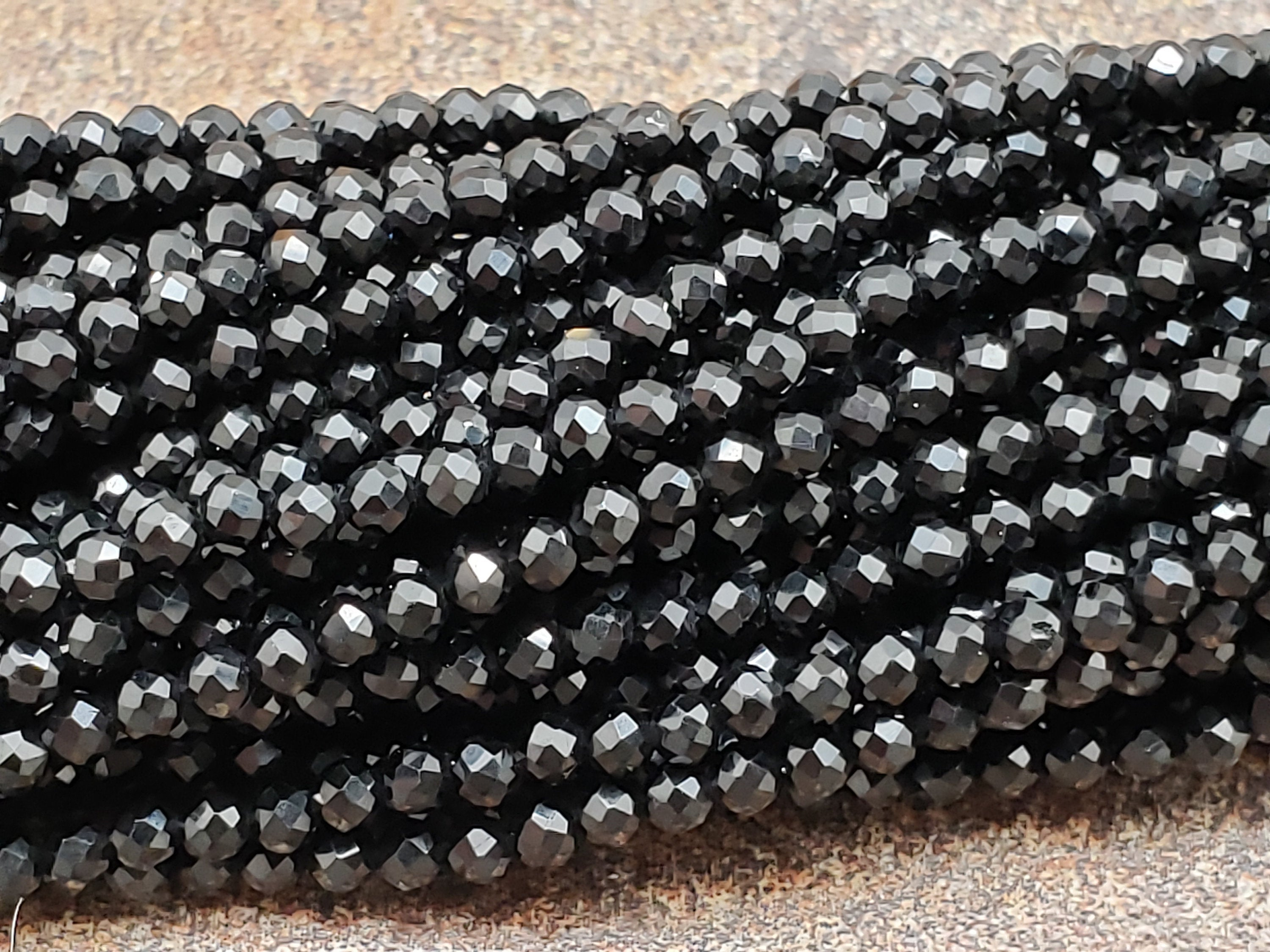 2mm Black Spinel Faceted Round Beads, AAA Grade, 15 inch