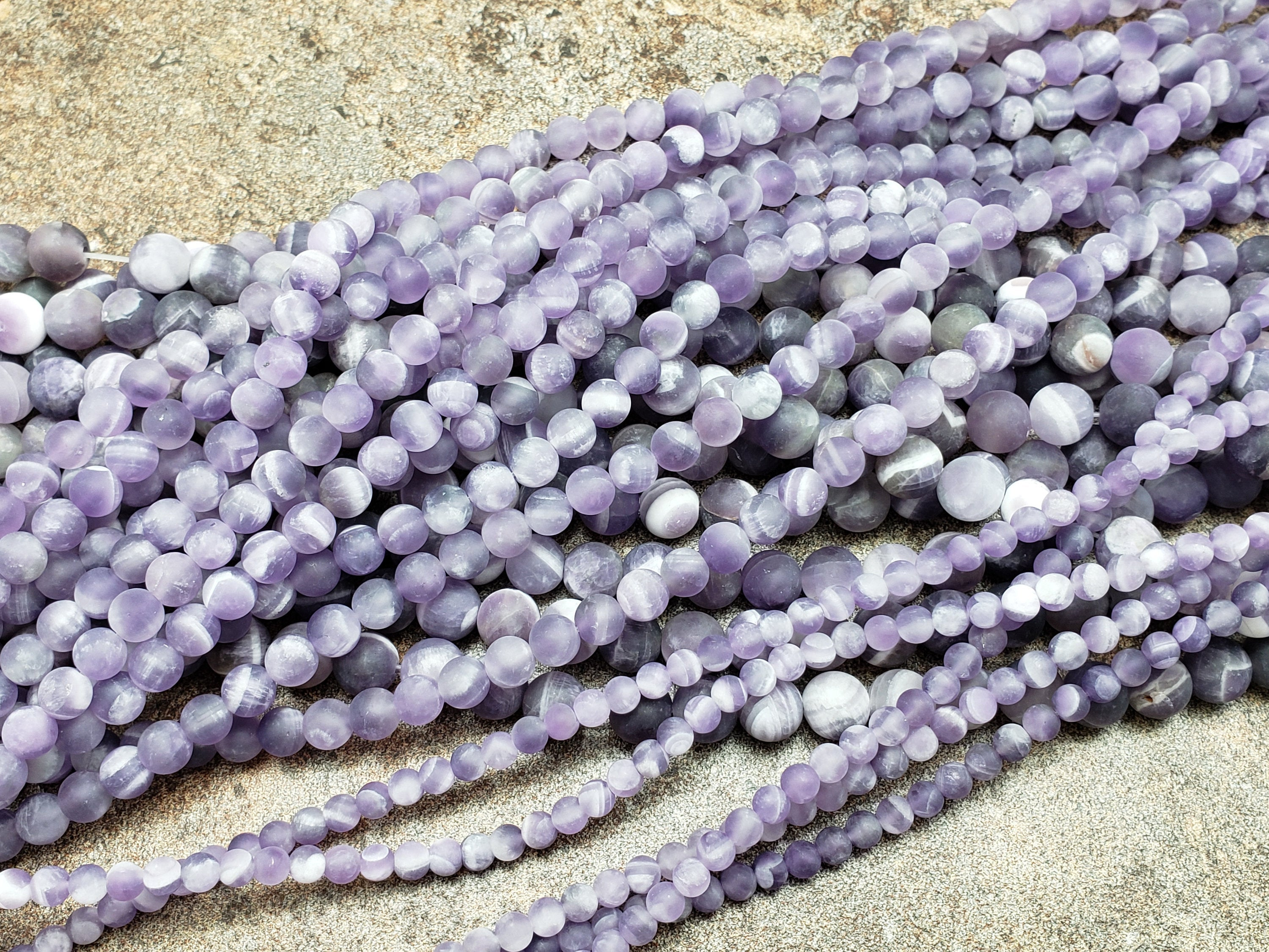 4mm or 6mm or 8mm Sage Amethyst Matte Round Beads, 15 inch