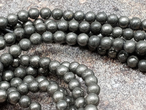 4mm Pyrite Polished Round Beads, 15.5 inch