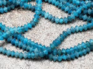 3.2mm Neon Blue Apatite Faceted Disk Rondelles, 15.5 inch