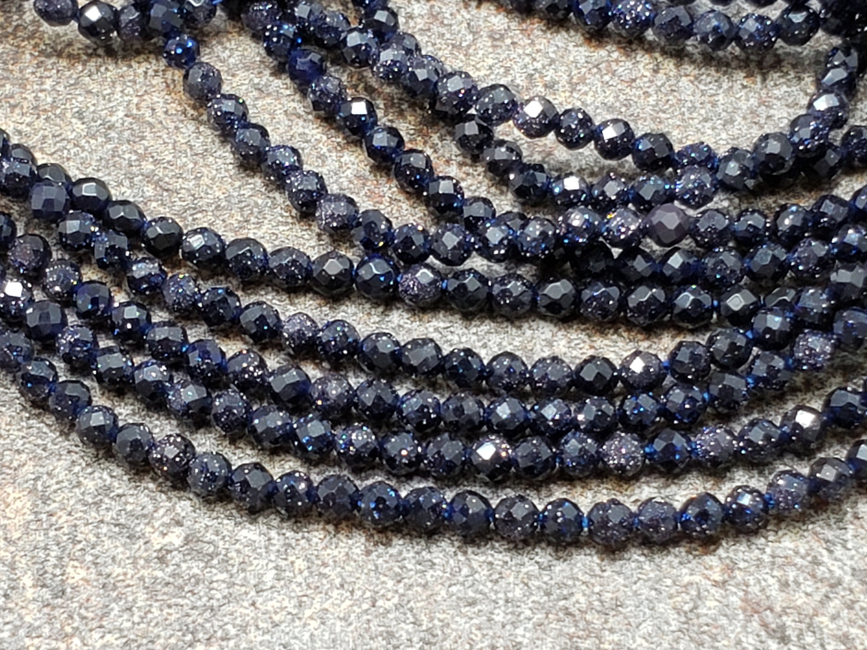2mm Blue Sandstone Faceted Round Beads, 15 inch