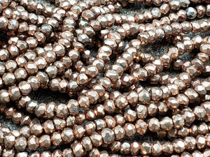 3mm Oxidized Copper Pyrite Faceted Rondelles, 13 inch