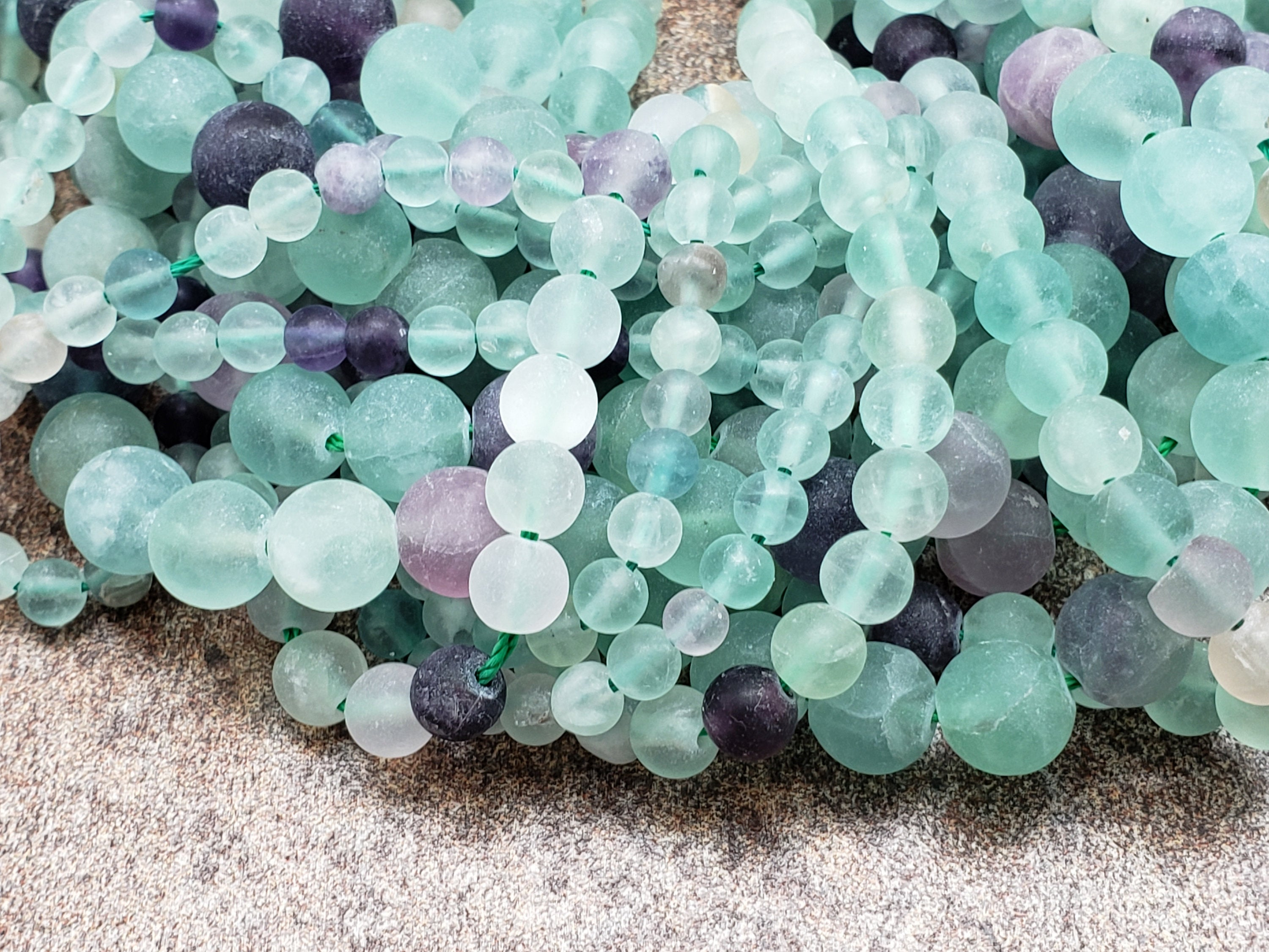 4mm or 6mm or 8mm Rainbow Fluorite Matte Round Beads, 15.5 inch
