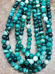 6mm or 8mm Dark Green Striped / Banded Agate Glossy Polished Round Beads, 15 inch