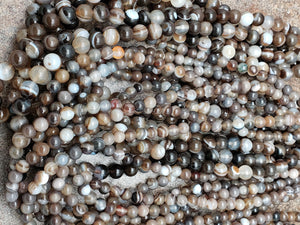 6mm or 8mm Coffee Brown Striped / Banded Agate Glossy Polished Round Beads, 15 inch