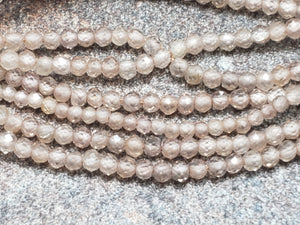 2mm Natural Brown Zircon Faceted Round Beads, AAA Grade, 12.75 inch