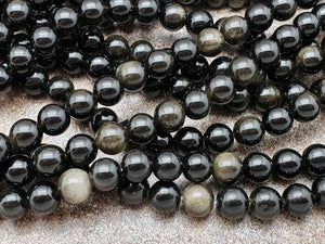 4.5mm or 6.5mm or 8mm Golden Black Obsidian Polished Round Beads, 15 inch
