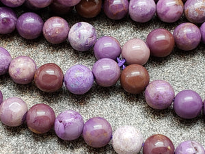 6.5mm Natural Purple Phosphosiderite Polished Round Beads, 15.5 inch