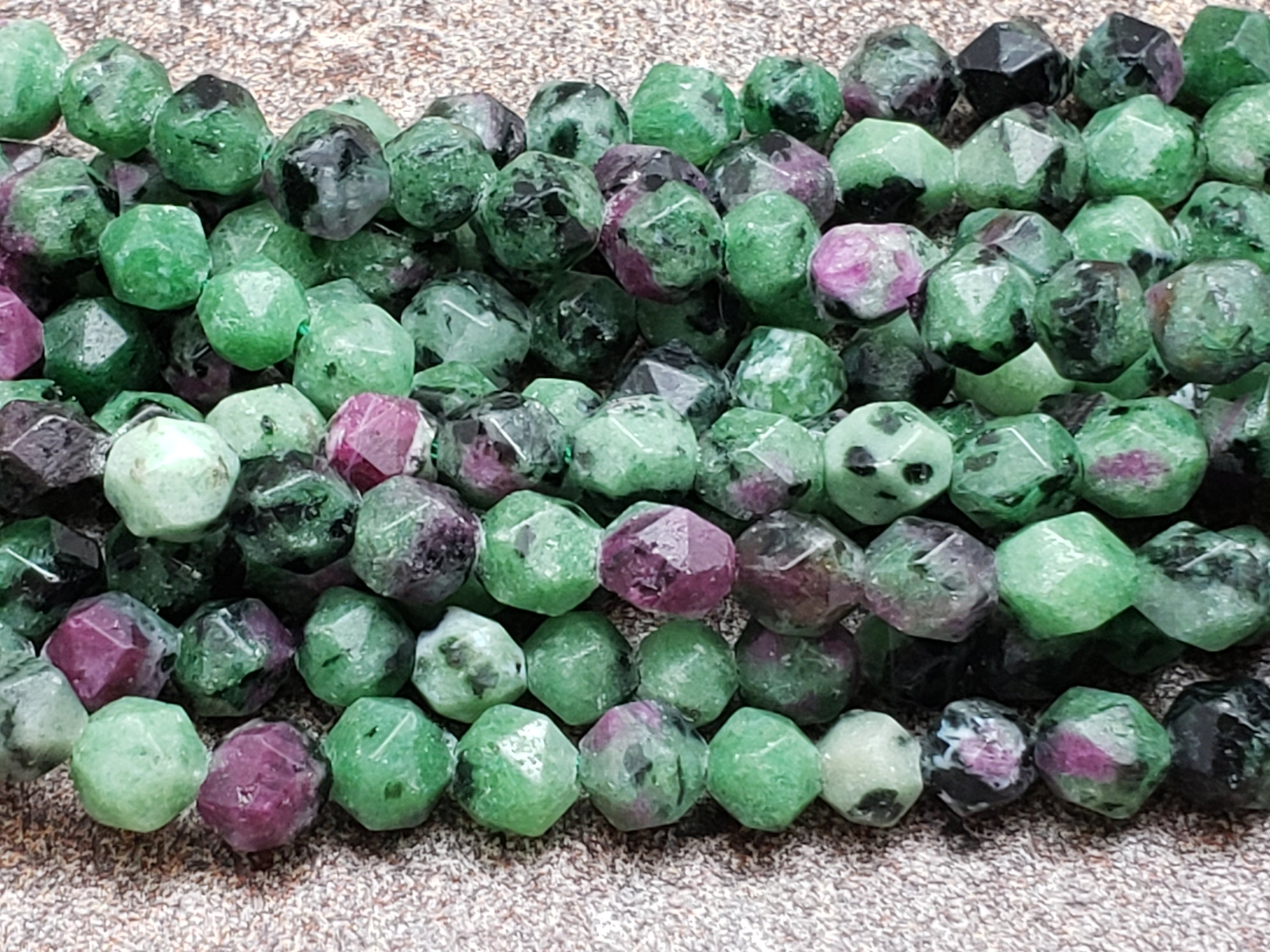 5.5mm or 7.5mm Ruby Zoisite Star Cut Faceted Beads, 15 inch