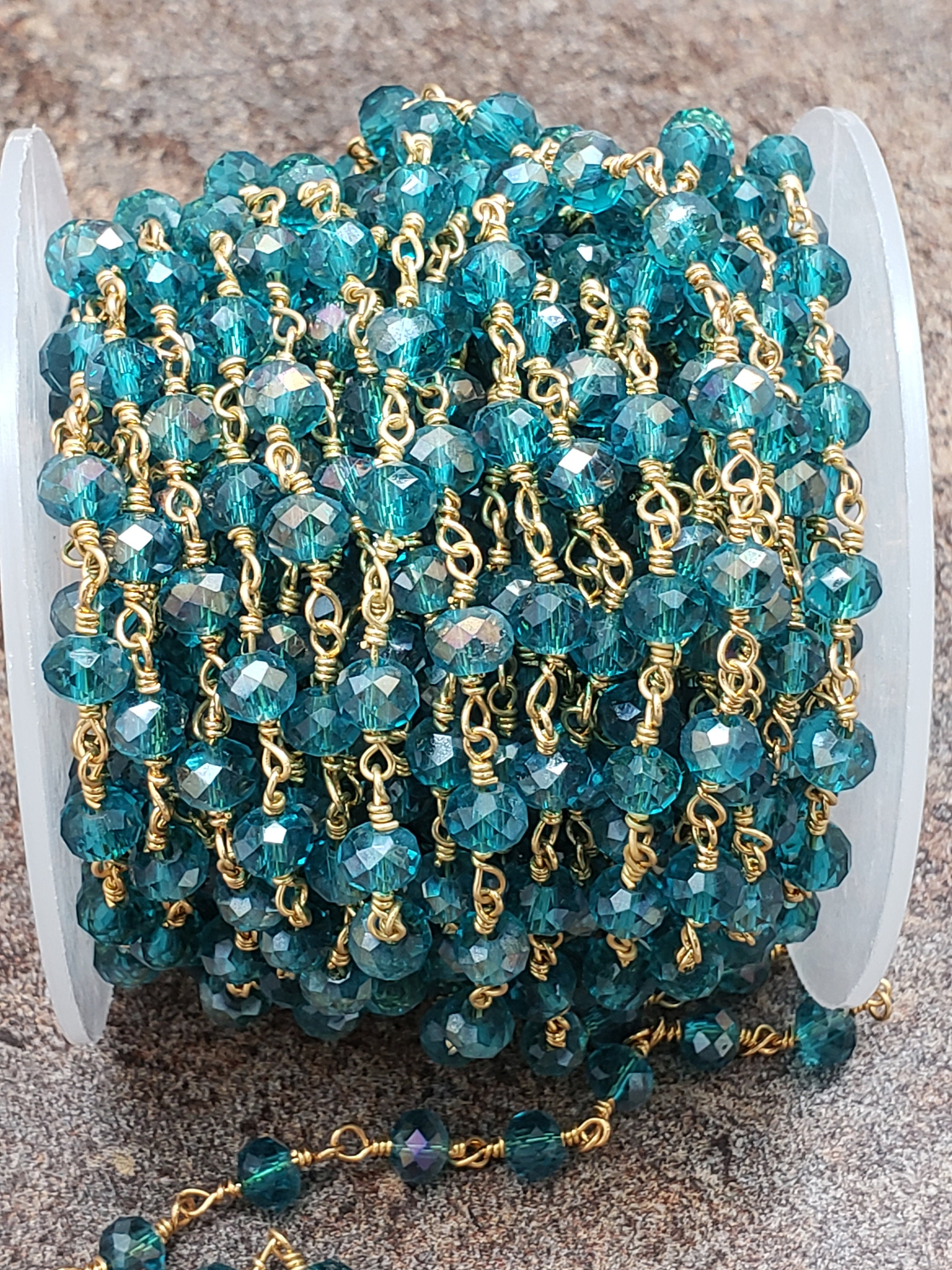 3 foot length of 4mm or 5.5mm London Blue Hydroquartz Rosary Chain, Brass w/Gold Plating