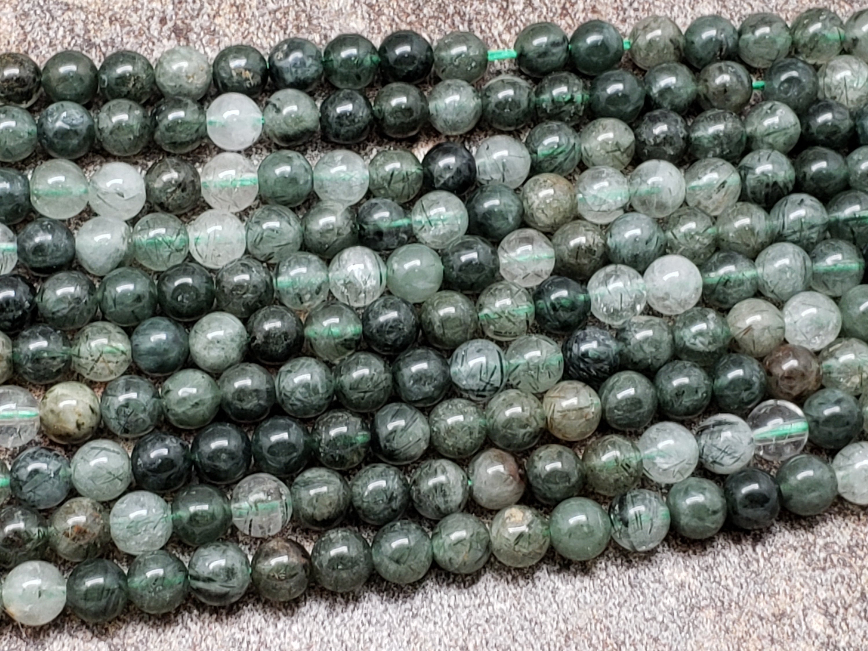 6mm or 8mm Green Rutilated Quartz Polished Round Beads, 16 inch