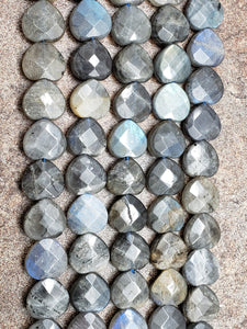 16mm Labradorite Faceted Heart Briolettes, 15.25 inch, 26 pieces per full strand