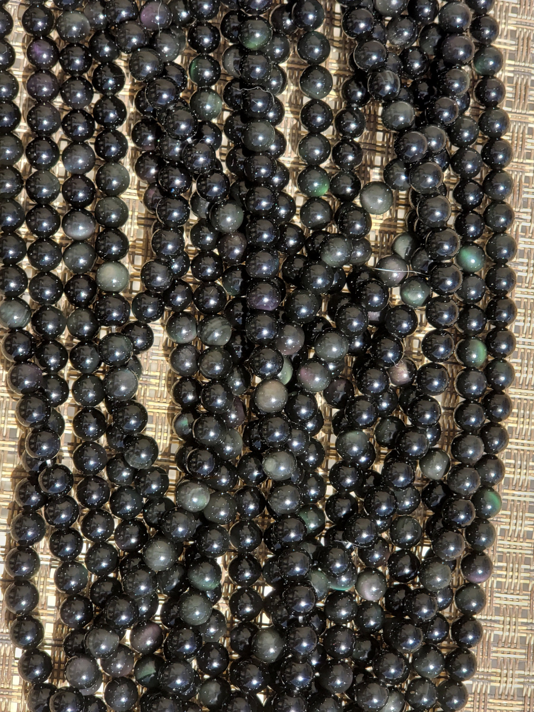 3.75mm or 6.5mm or 8mm  Burgundy & Green Black Obsidian Polished Round Beads, 15 inch