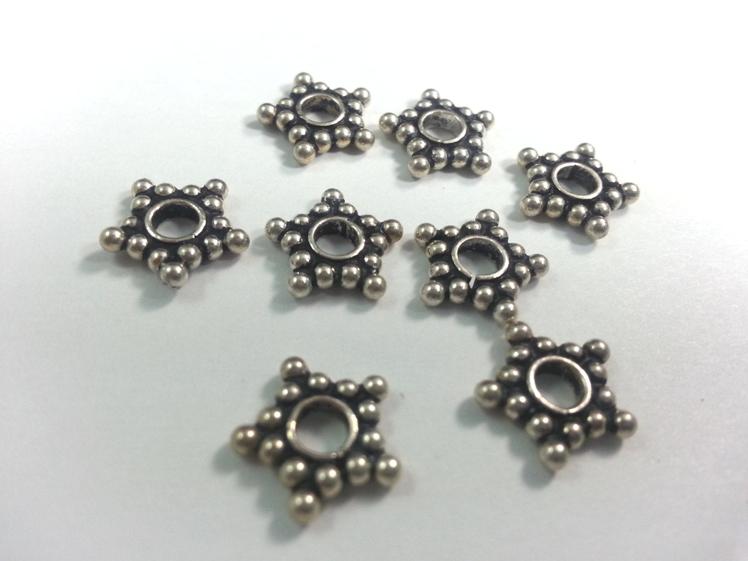 10mm Sterling Silver Star Spacers, Bag of 20