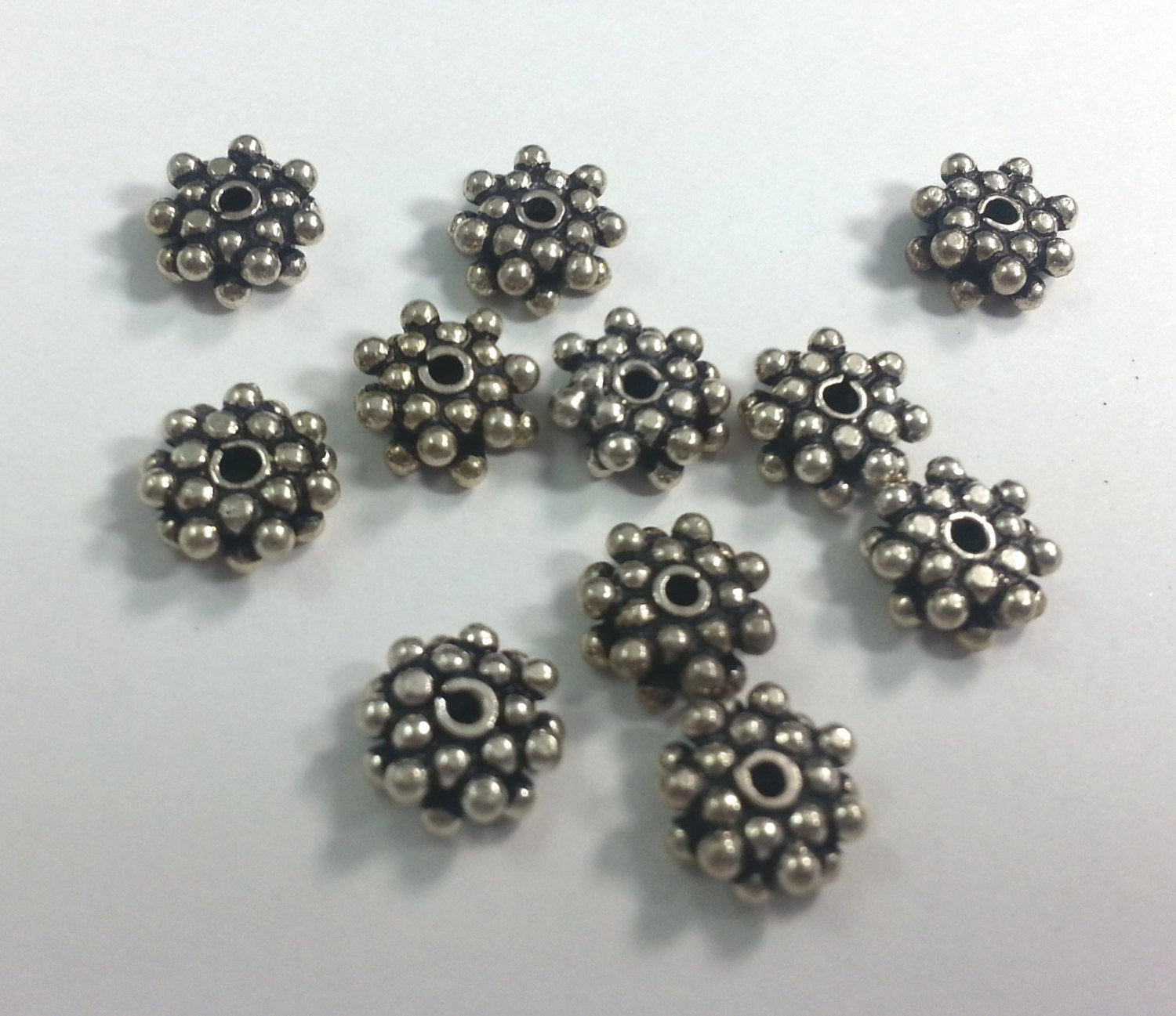 8.5mm Double Daisy Sterling Silver Spacers, Bag of 20
