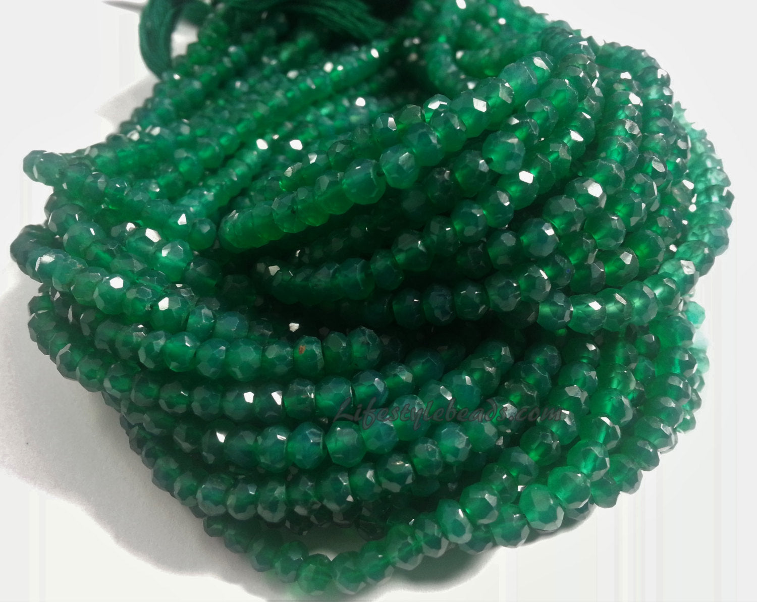 3.75 to 4mm Green Onyx Faceted Rondelles, 13 inch