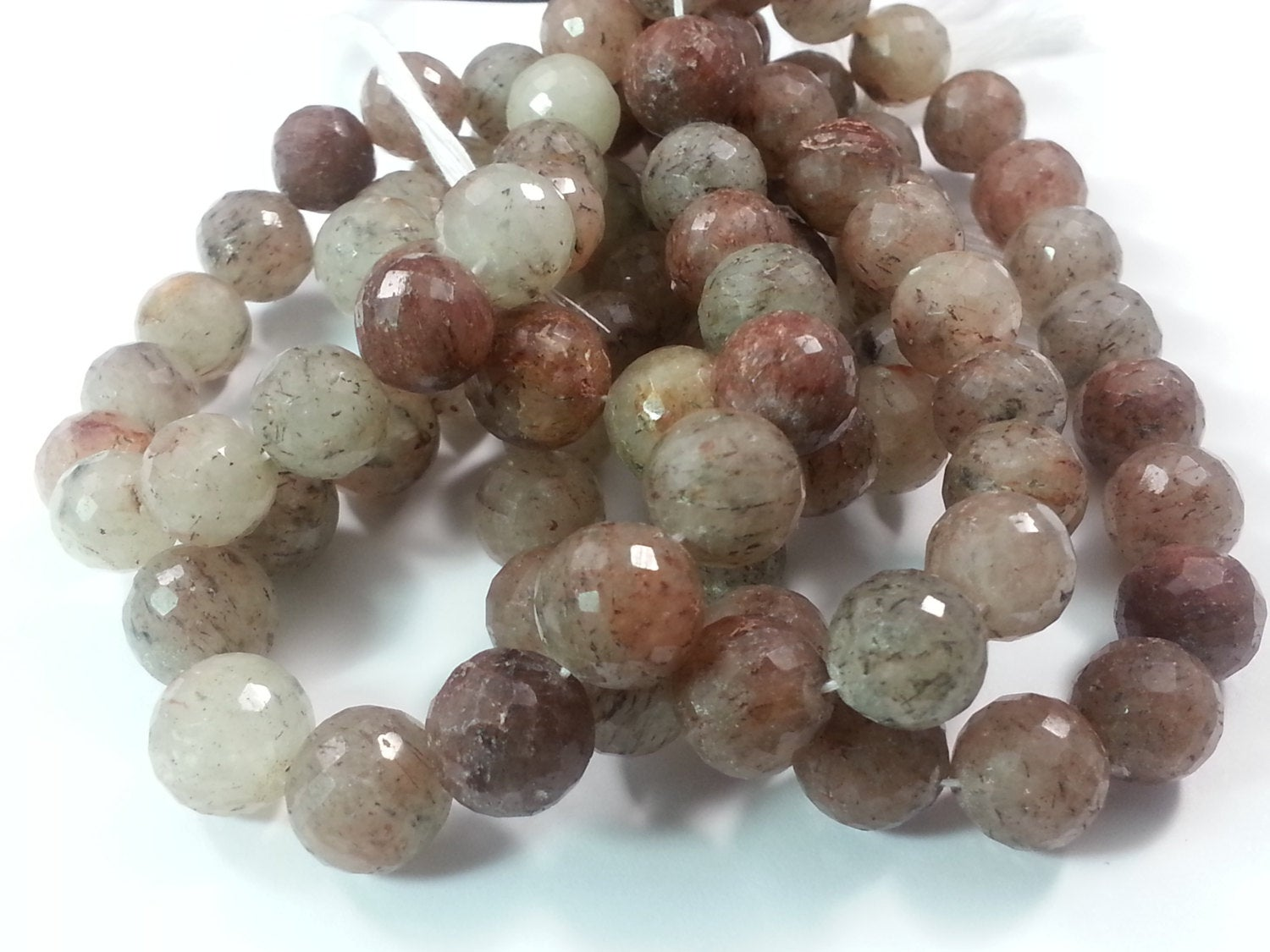 10.5mm or 12mm Berry Quartz Faceted Round Beads, 7.75 inch