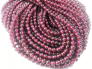 3 to 3.25mm Garnet Polished Round Beads, 14 inch