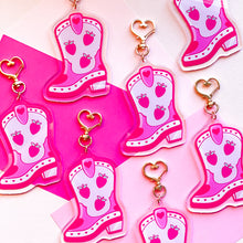 Load image into Gallery viewer, Strawberry Cowboot Jumbo Keychain Charm