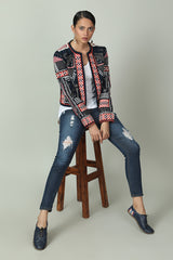 Front-open Abstract Pattern Sequined Jacket