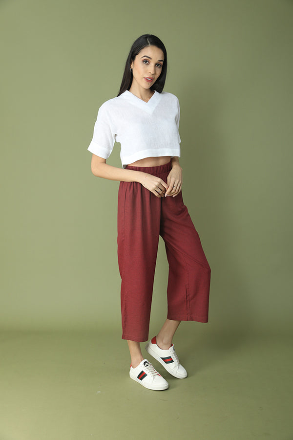 Stylish Crop Top V-Neck Culotte Set