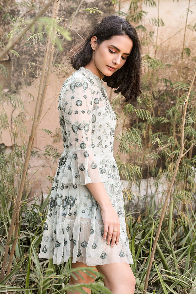 Modish n Flared Embroidered Midi Dress