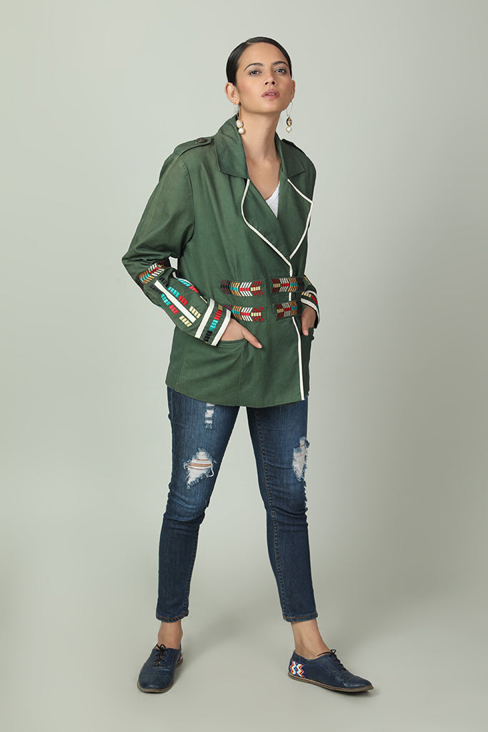 Free-Spirit Jacket With Vibrant Geometric Embroidery