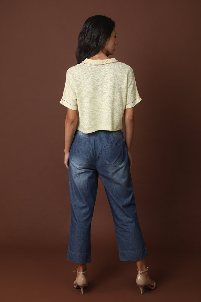 Angular bottom denim