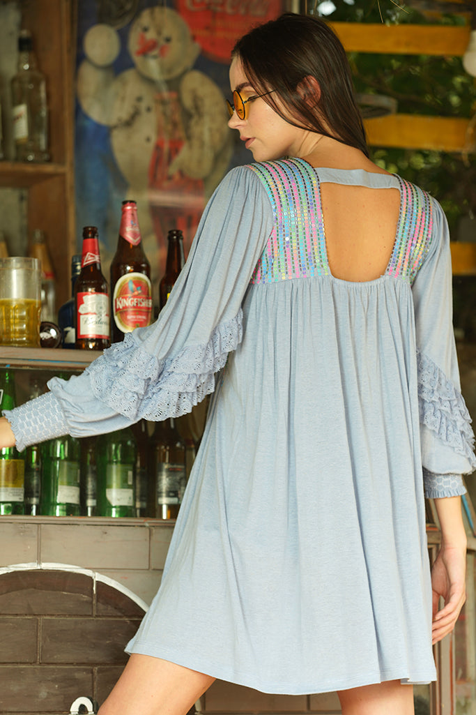 Holographic Sequined ruffle sleeves dress