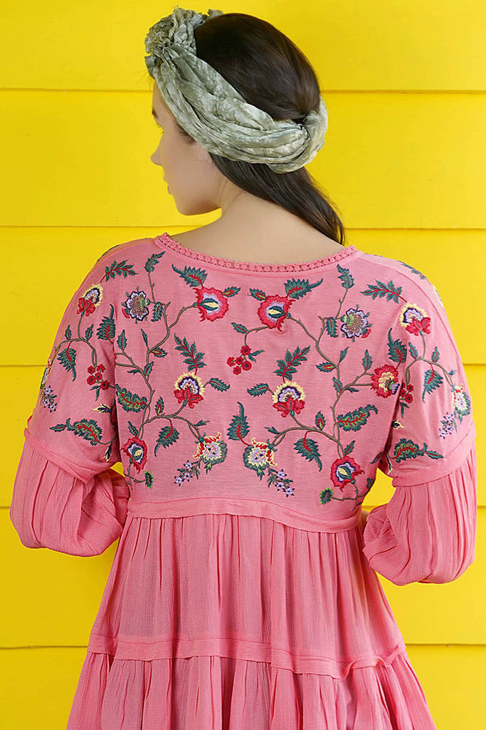 Embroidered top with flutter sleeves