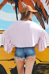 Crop top with ruffle sleeves