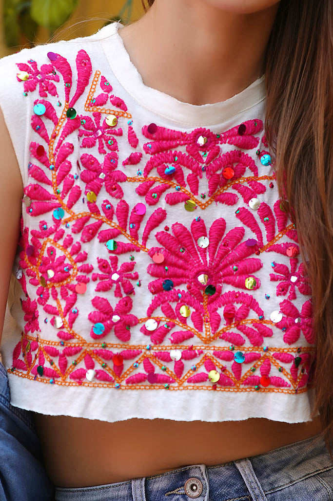 Chunky Embroidery crop top