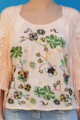 Elasticated raglan embroidered top