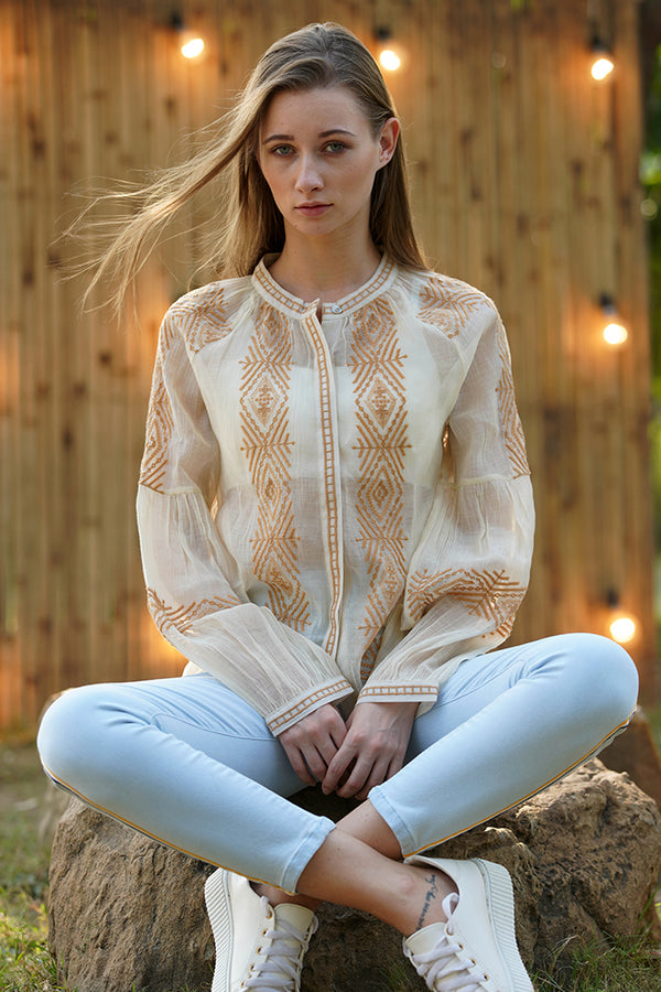 Embroidered front button down blouse