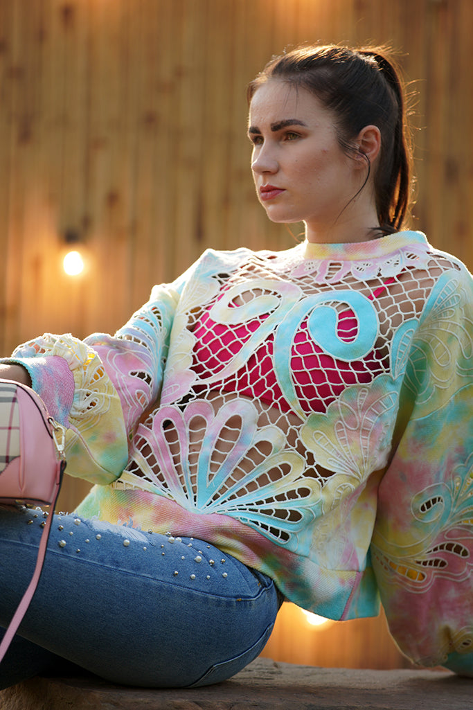 Tie & dye cutwork embroidered top
