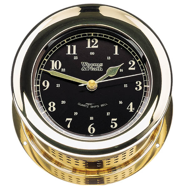 Atlantis Premiere Quartz Ship's Bell Clock, Black Dial