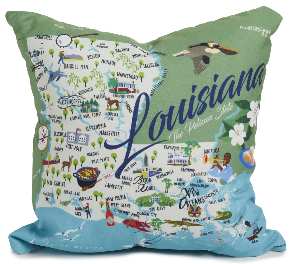 "Louisiana - 18"" Square Pillow"